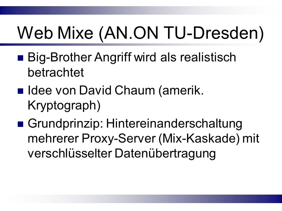 Web Mixe (AN.ON TU-Dresden)