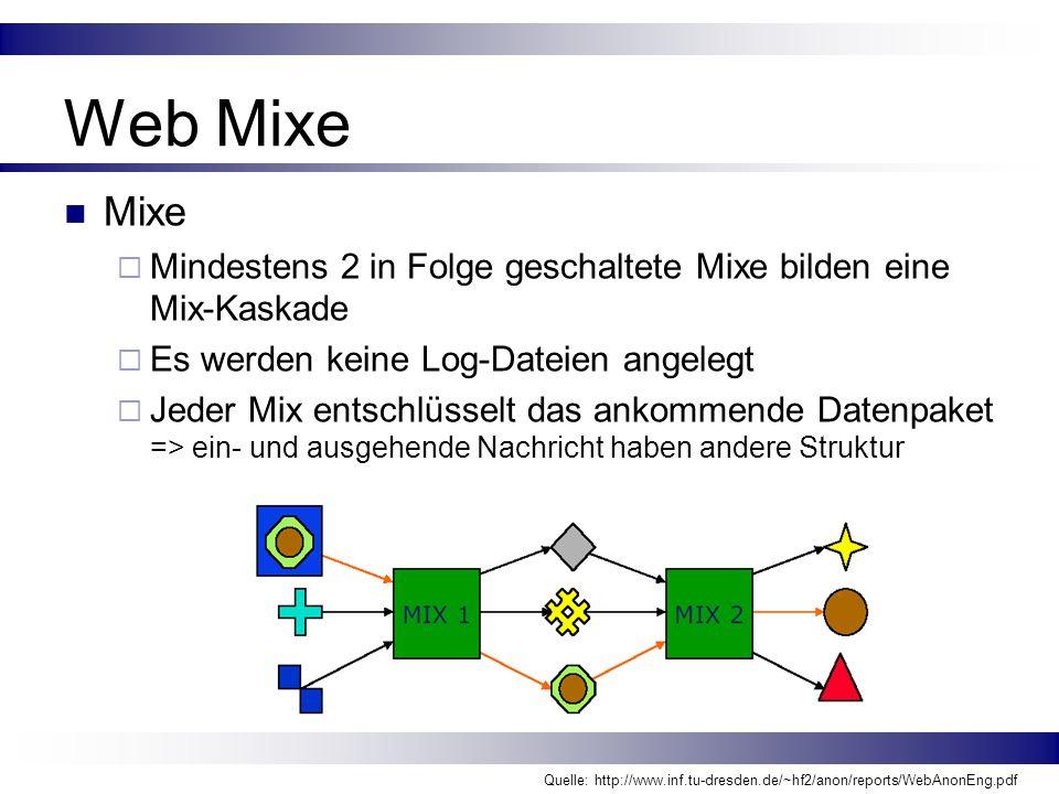 Web Mixe Mixe. Mindestens 2 in Folge geschaltete Mixe bilden eine Mix-Kaskade. Es werden keine Log-Dateien angelegt.