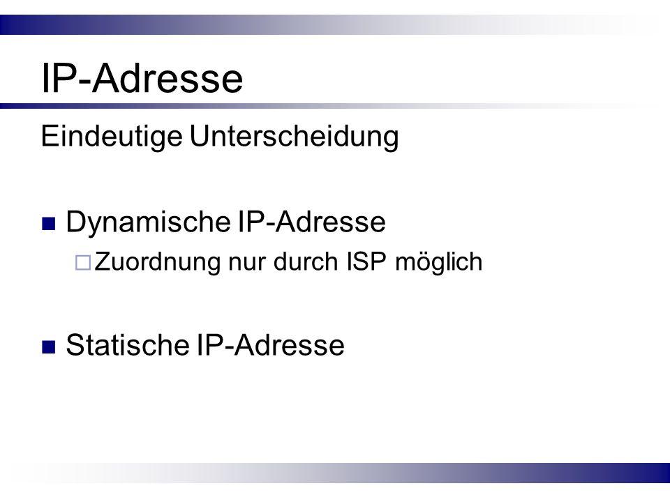 IP-Adresse Eindeutige Unterscheidung Dynamische IP-Adresse