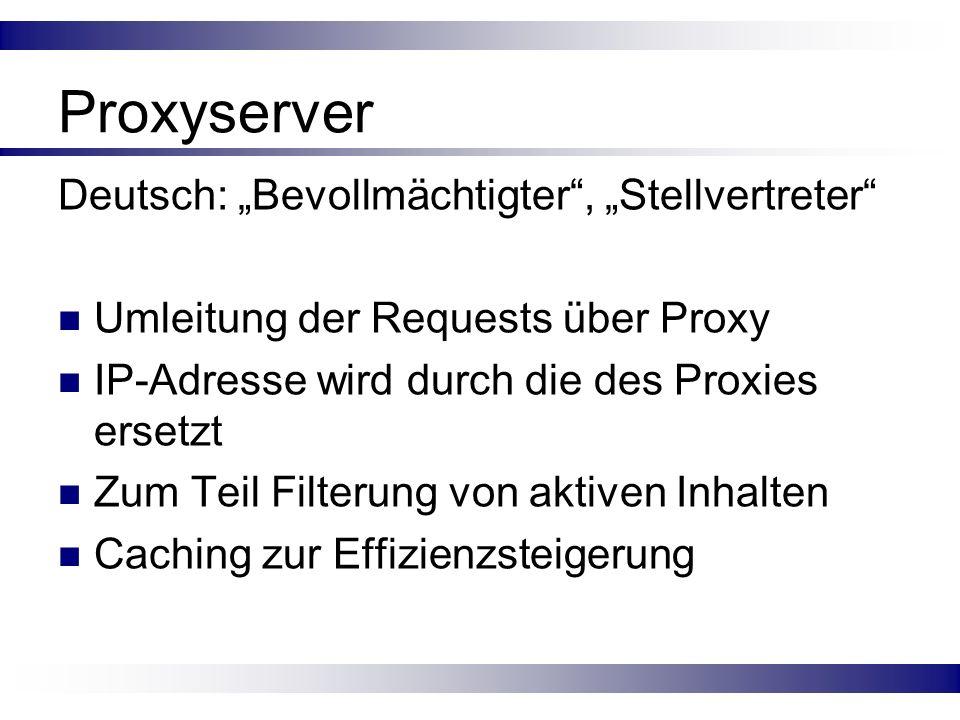 """Proxyserver Deutsch: """"Bevollmächtigter , """"Stellvertreter"""
