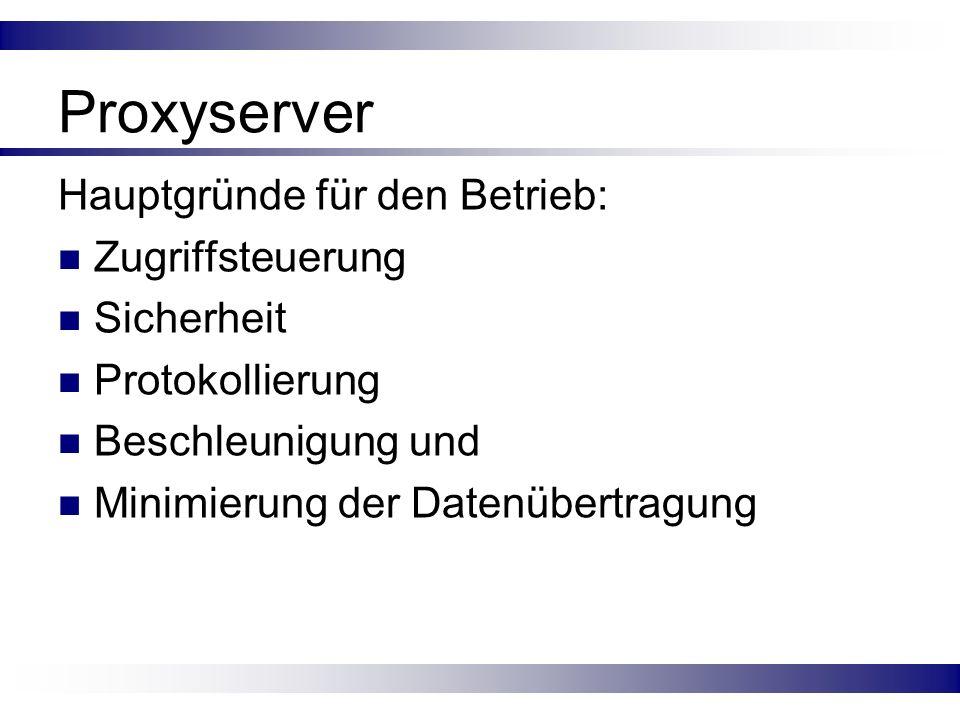 Proxyserver Hauptgründe für den Betrieb: Zugriffsteuerung Sicherheit