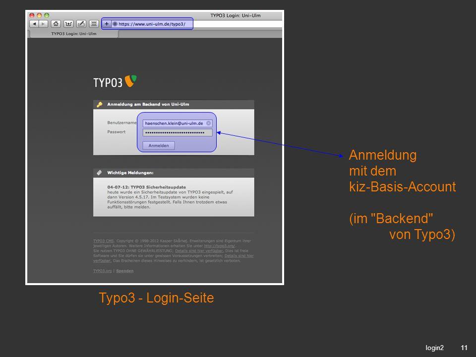 Anmeldung mit dem kiz-Basis-Account (im Backend von Typo3)