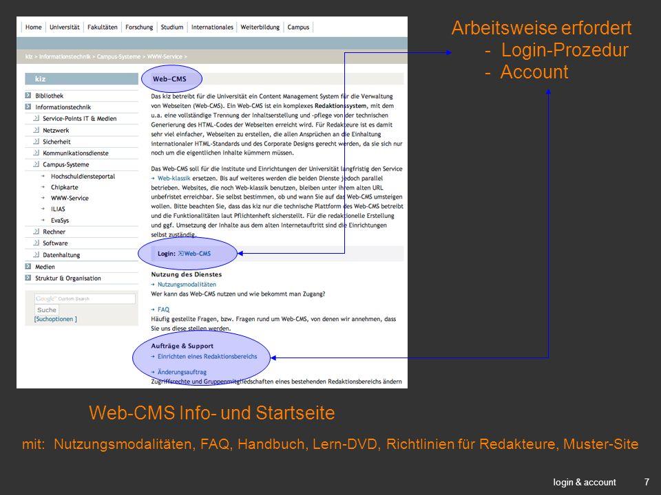 Web-CMS Info- und Startseite