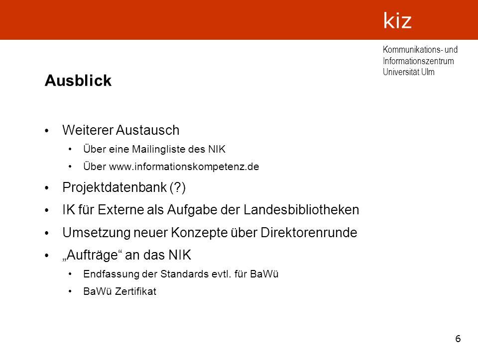 Ausblick Weiterer Austausch Projektdatenbank ( )