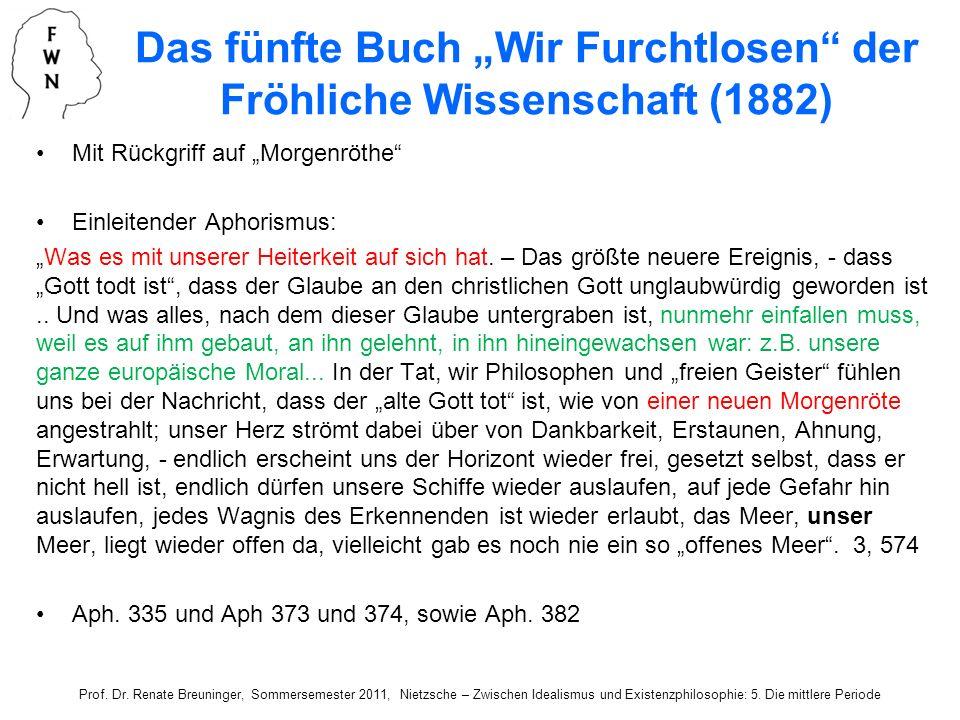 """Das fünfte Buch """"Wir Furchtlosen der Fröhliche Wissenschaft (1882)"""
