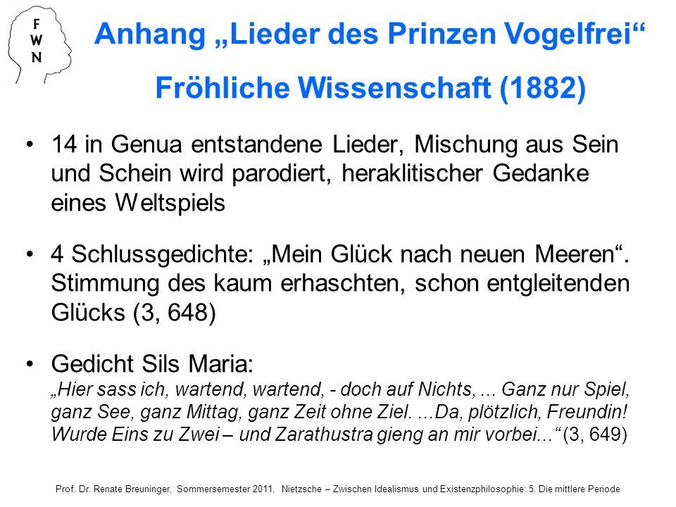 """Anhang """"Lieder des Prinzen Vogelfrei Fröhliche Wissenschaft (1882)"""