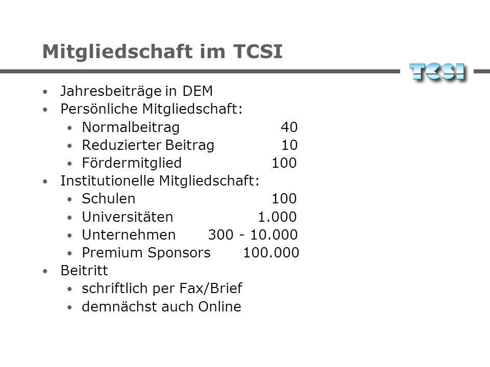Mitgliedschaft im TCSI