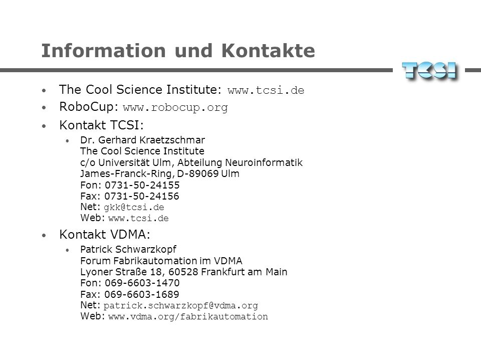 Information und Kontakte