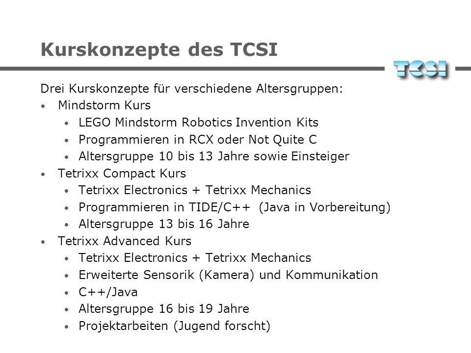 Kurskonzepte des TCSI Drei Kurskonzepte für verschiedene Altersgruppen: Mindstorm Kurs. LEGO Mindstorm Robotics Invention Kits.