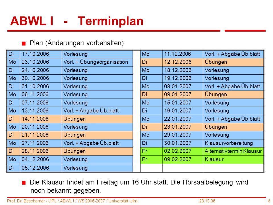 ABWL I - Terminplan Plan (Änderungen vorbehalten)