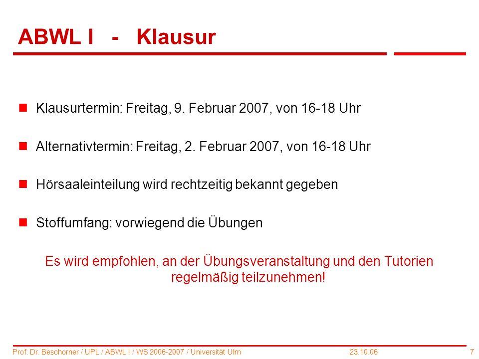 ABWL I - Klausur Klausurtermin: Freitag, 9. Februar 2007, von 16-18 Uhr. Alternativtermin: Freitag, 2. Februar 2007, von 16-18 Uhr.
