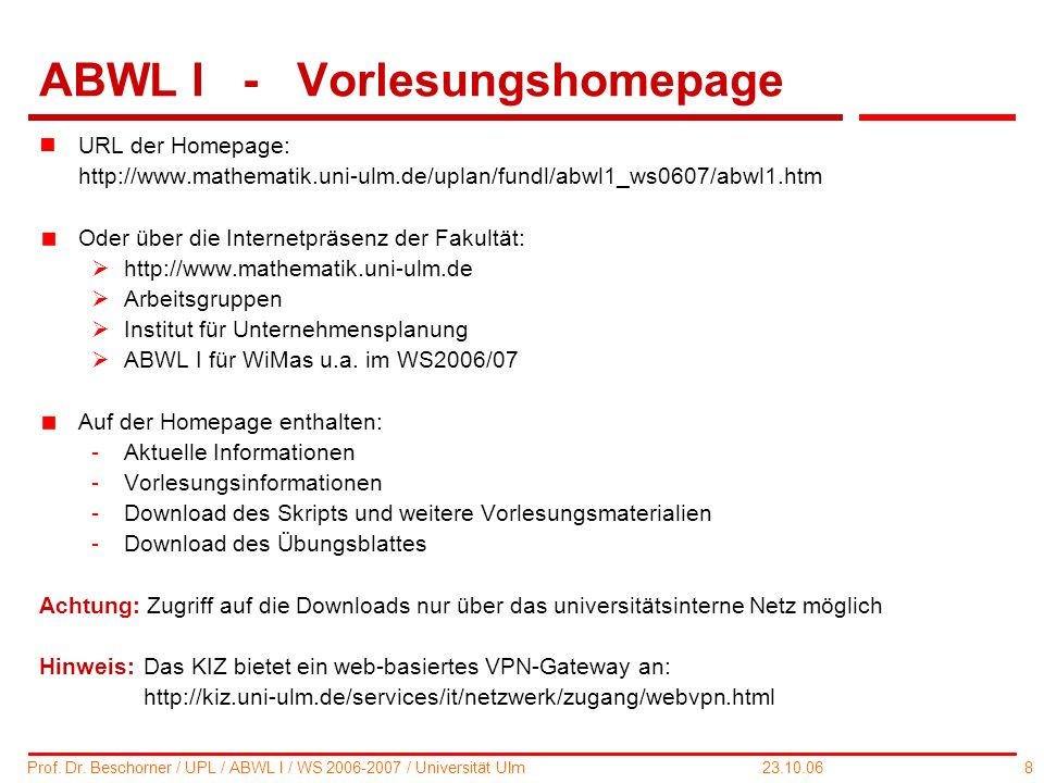 ABWL I - Vorlesungshomepage