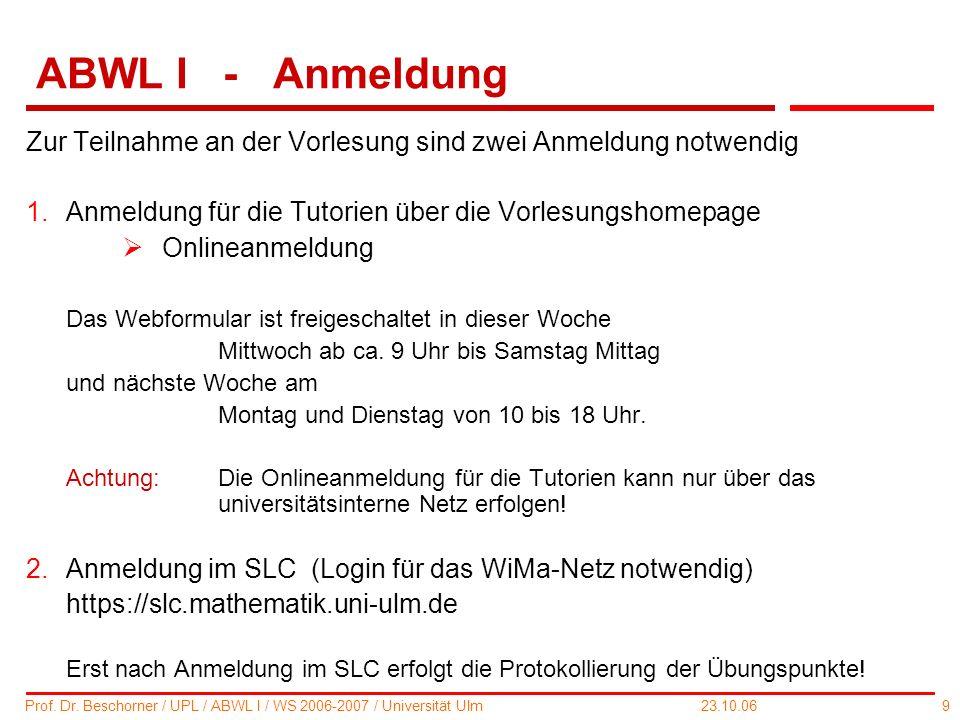 ABWL I - Anmeldung Zur Teilnahme an der Vorlesung sind zwei Anmeldung notwendig. Anmeldung für die Tutorien über die Vorlesungshomepage.