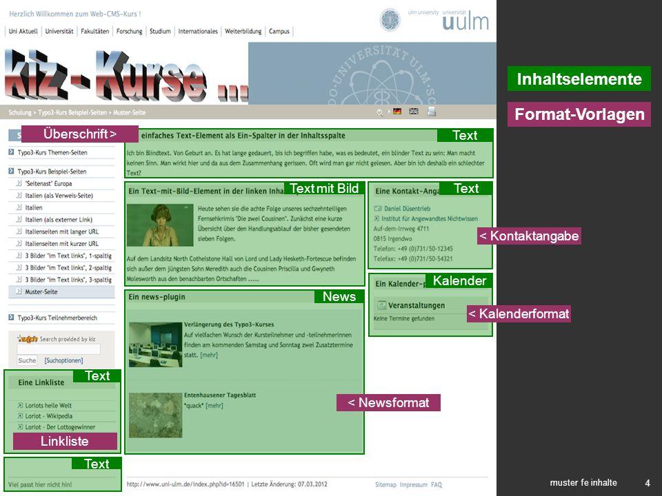 Inhaltselemente Format-Vorlagen