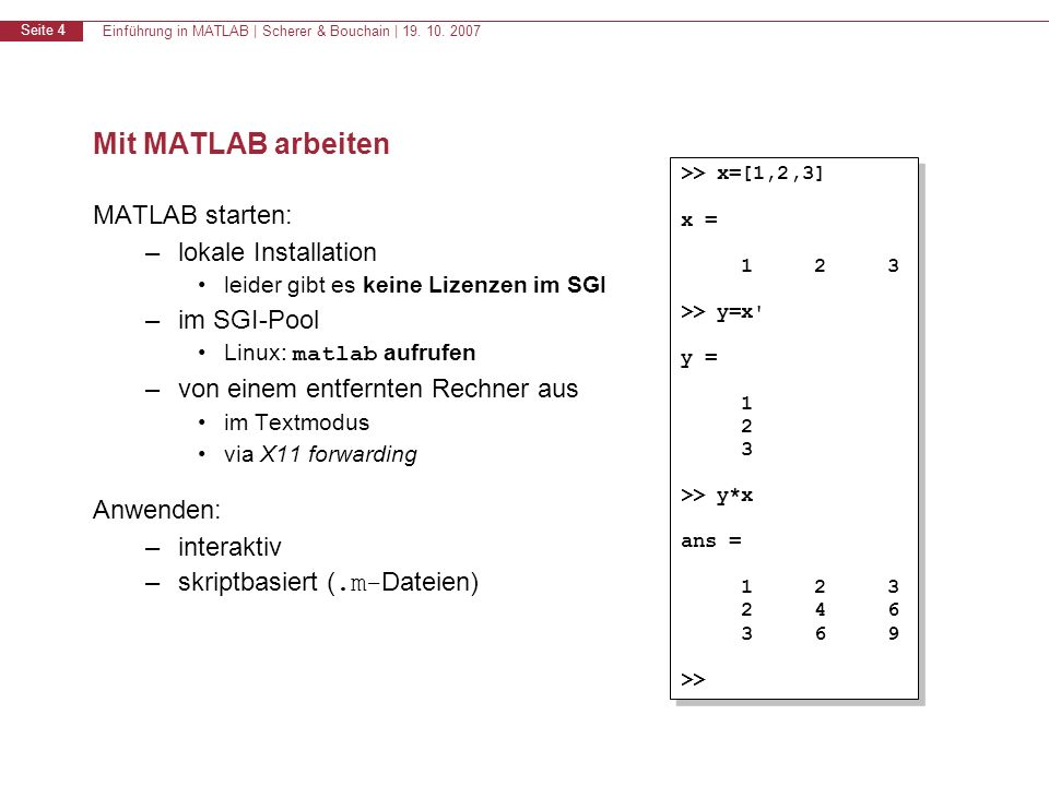 Mit MATLAB arbeiten MATLAB starten: lokale Installation im SGI-Pool