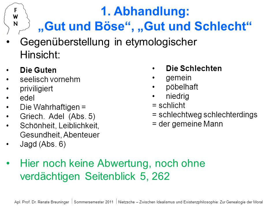 """1. Abhandlung: """"Gut und Böse , """"Gut und Schlecht"""