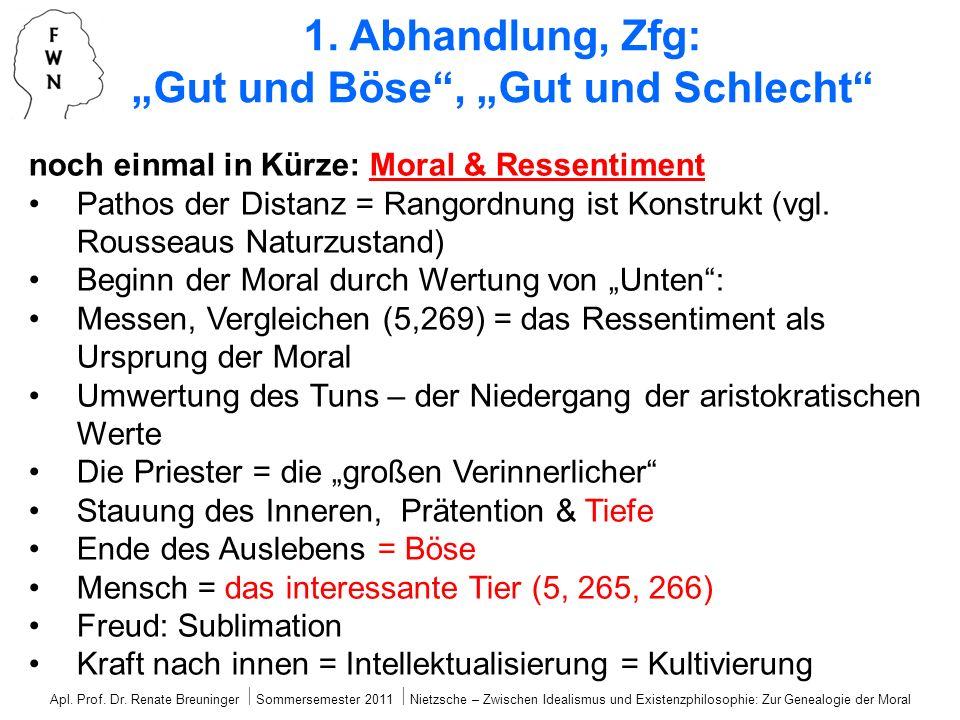 """1. Abhandlung, Zfg: """"Gut und Böse , """"Gut und Schlecht"""