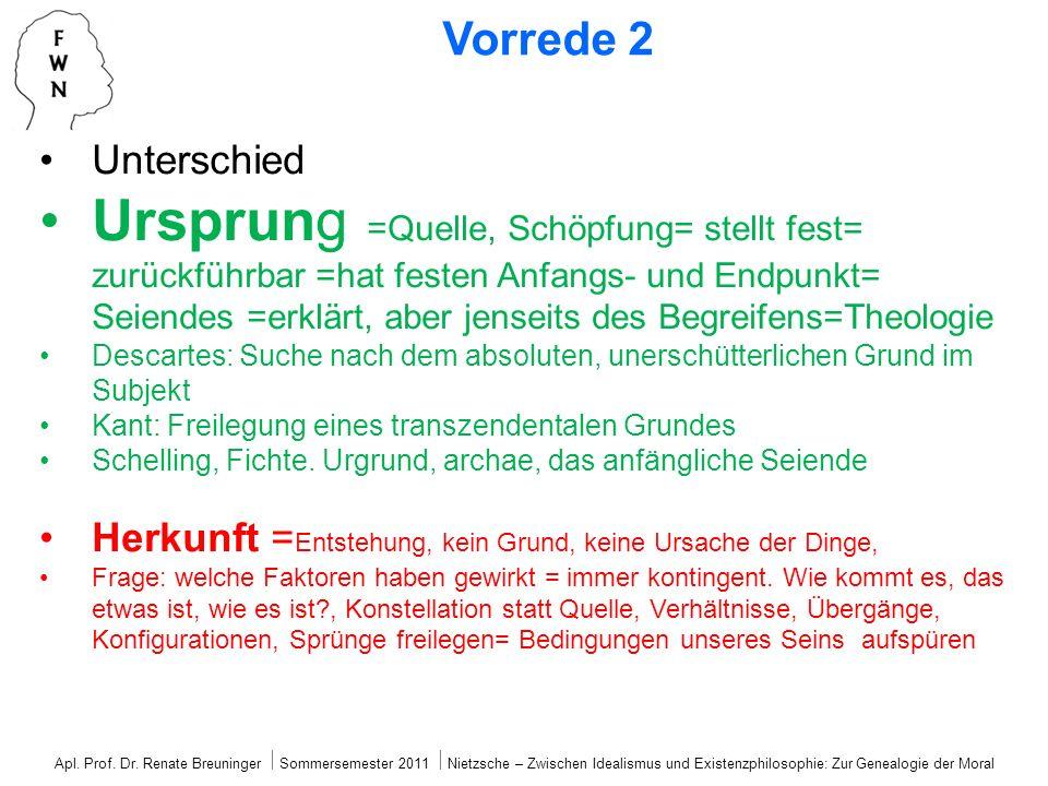 Apl. Prof. Dr. Renate Breuninger ⃒ Sommersemester 2011 ⃒ Nietzsche – Zwischen Idealismus und Existenzphilosophie: Zur Genealogie der Moral