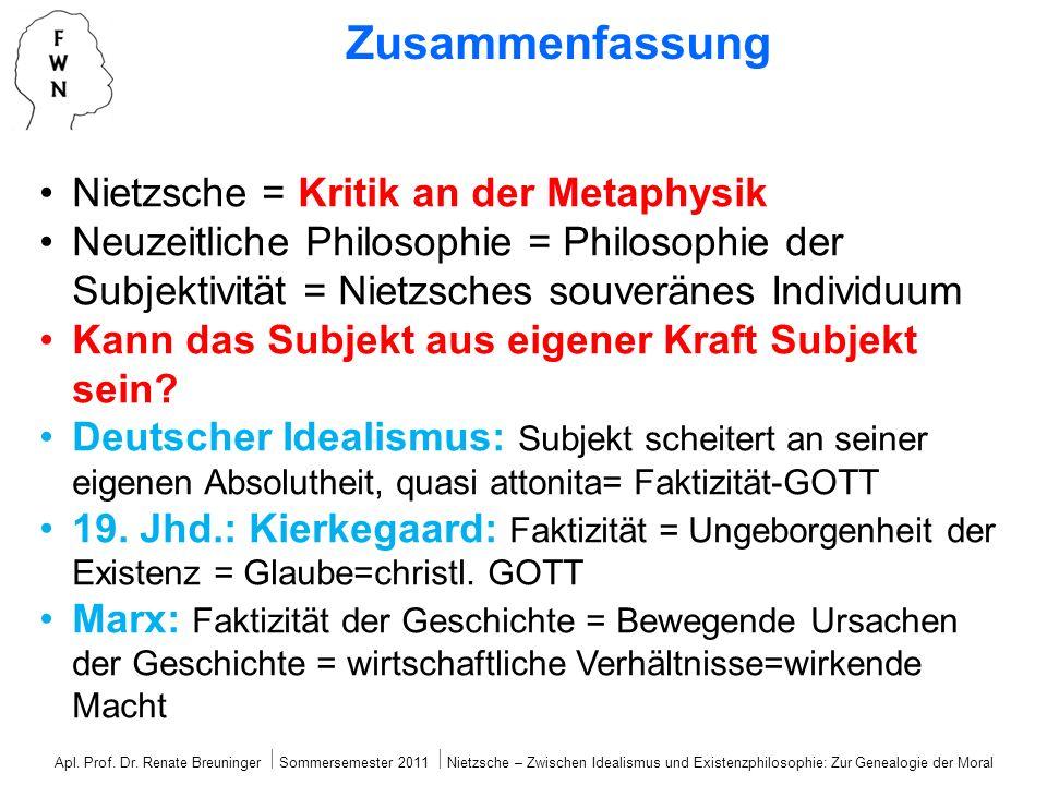 Zusammenfassung Nietzsche = Kritik an der Metaphysik