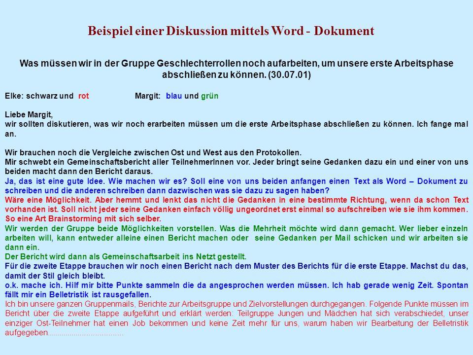 Beispiel einer Diskussion mittels Word - Dokument