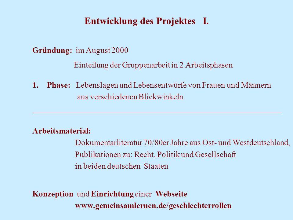 Entwicklung des Projektes I.