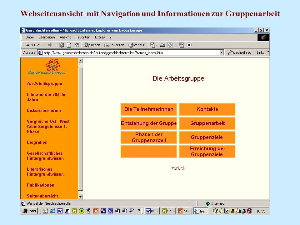 Webseitenansicht mit Navigation und Informationen zur Gruppenarbeit