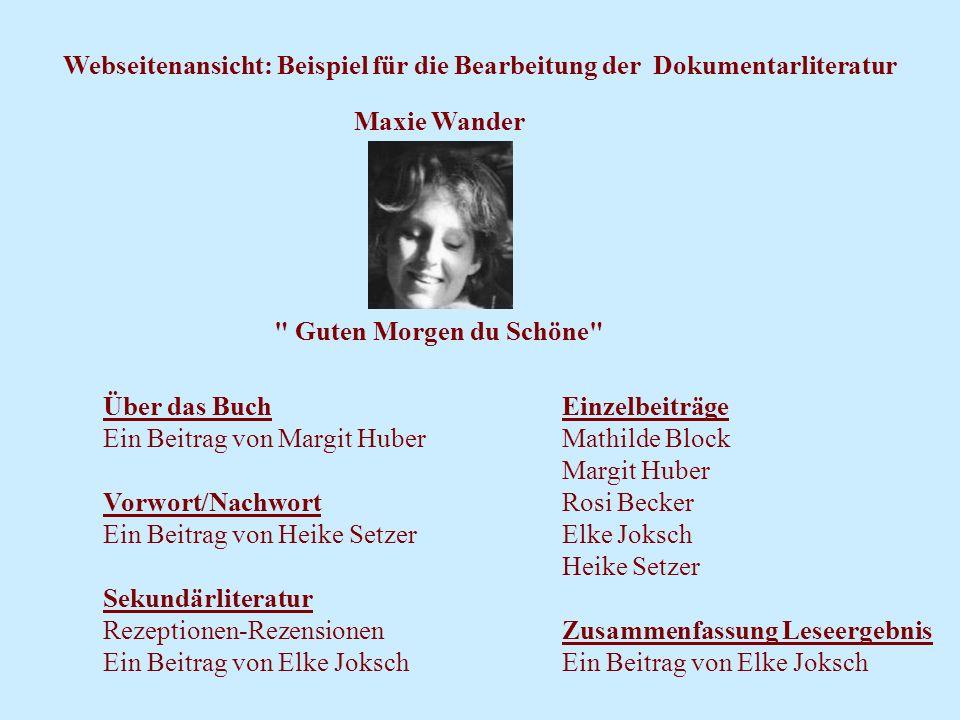 Webseitenansicht: Beispiel für die Bearbeitung der Dokumentarliteratur