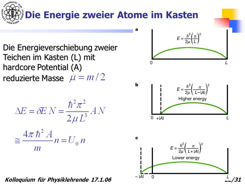 Die Energie zweier Atome im Kasten