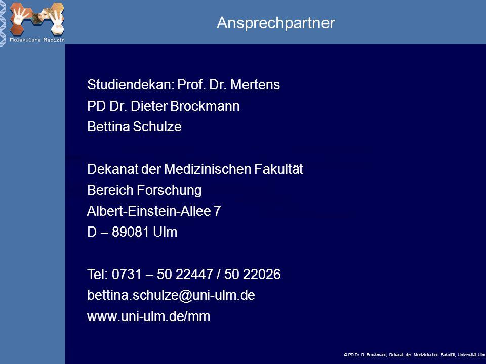 Ansprechpartner Studiendekan: Prof. Dr. Mertens