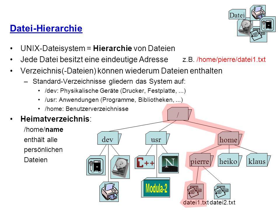 Datei-Hierarchie UNIX-Dateisystem = Hierarchie von Dateien