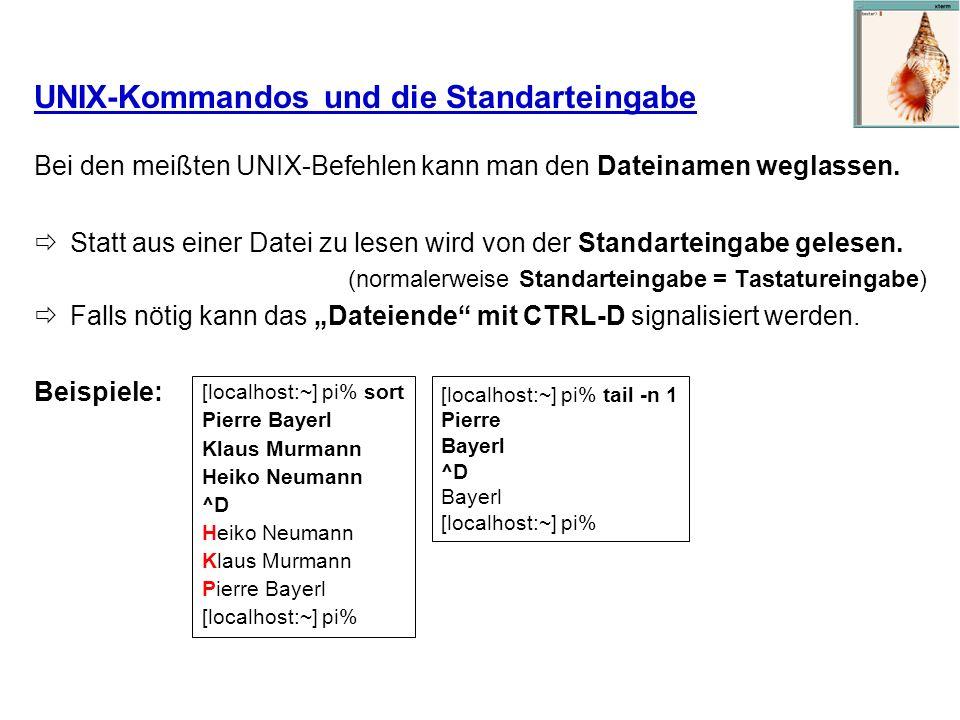 UNIX-Kommandos und die Standarteingabe