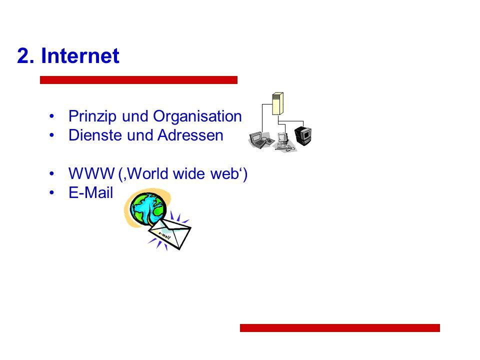 Internet Prinzip und Organisation Dienste und Adressen