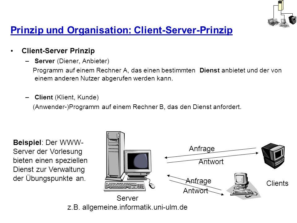 Prinzip und Organisation: Client-Server-Prinzip