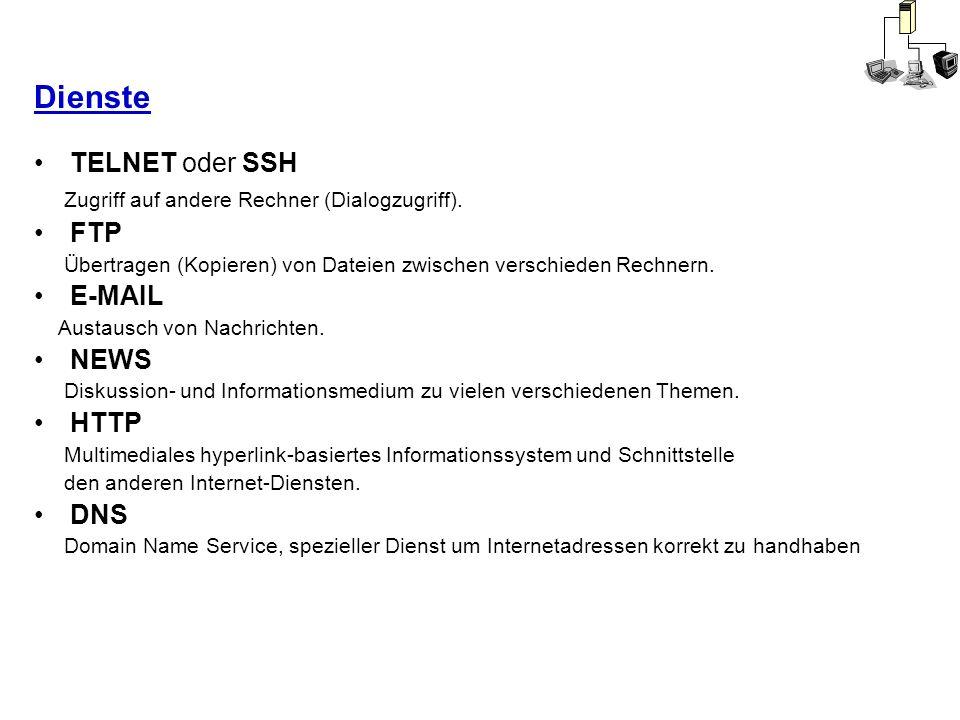 Dienste TELNET oder SSH Zugriff auf andere Rechner (Dialogzugriff).
