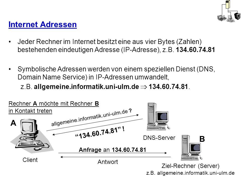 Internet Adressen Jeder Rechner im Internet besitzt eine aus vier Bytes (Zahlen) bestehenden eindeutigen Adresse (IP-Adresse), z.B. 134.60.74.81.