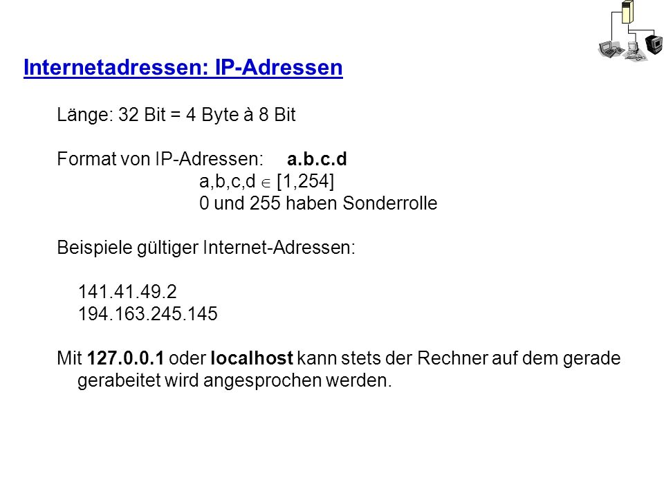 Internetadressen: IP-Adressen