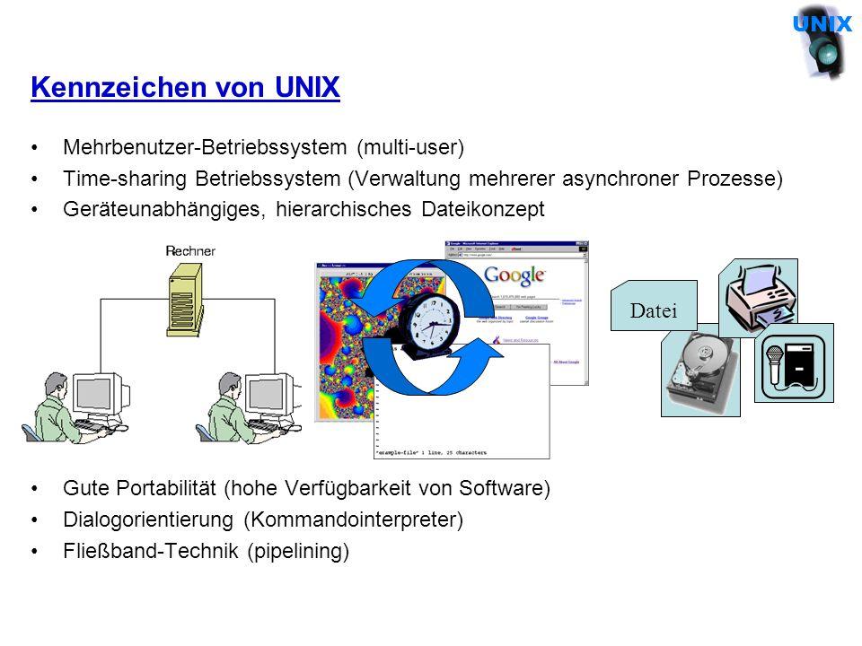 Kennzeichen von UNIX UNIX Mehrbenutzer-Betriebssystem (multi-user)