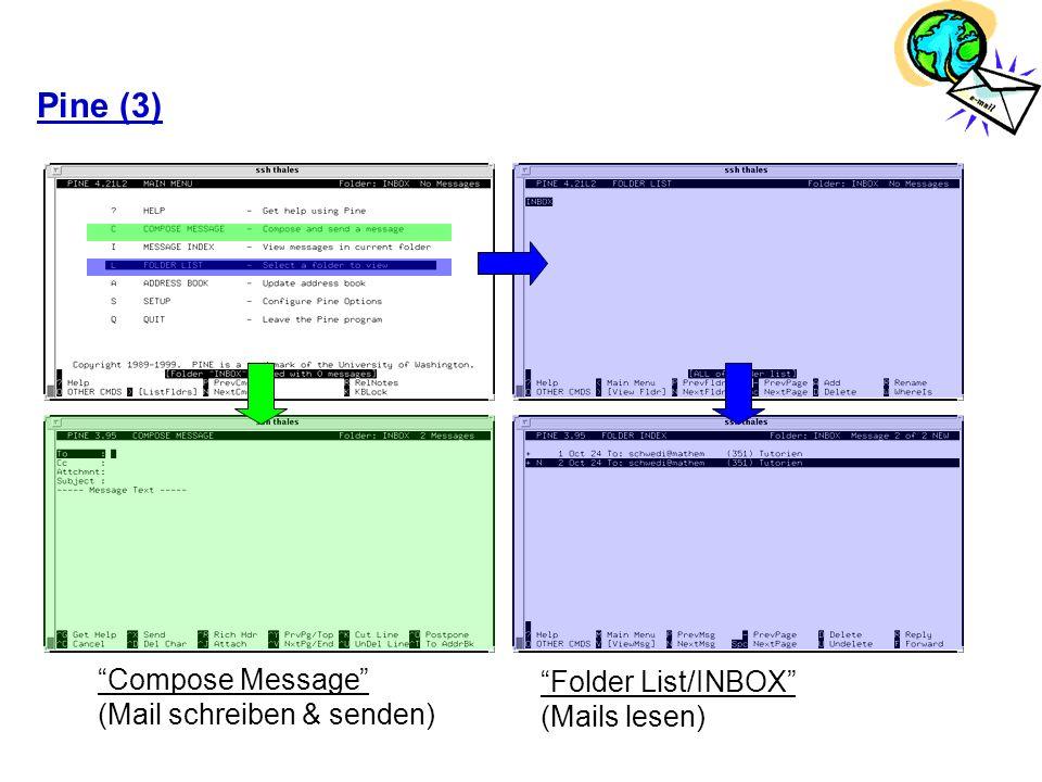 Pine (3) Compose Message Folder List/INBOX