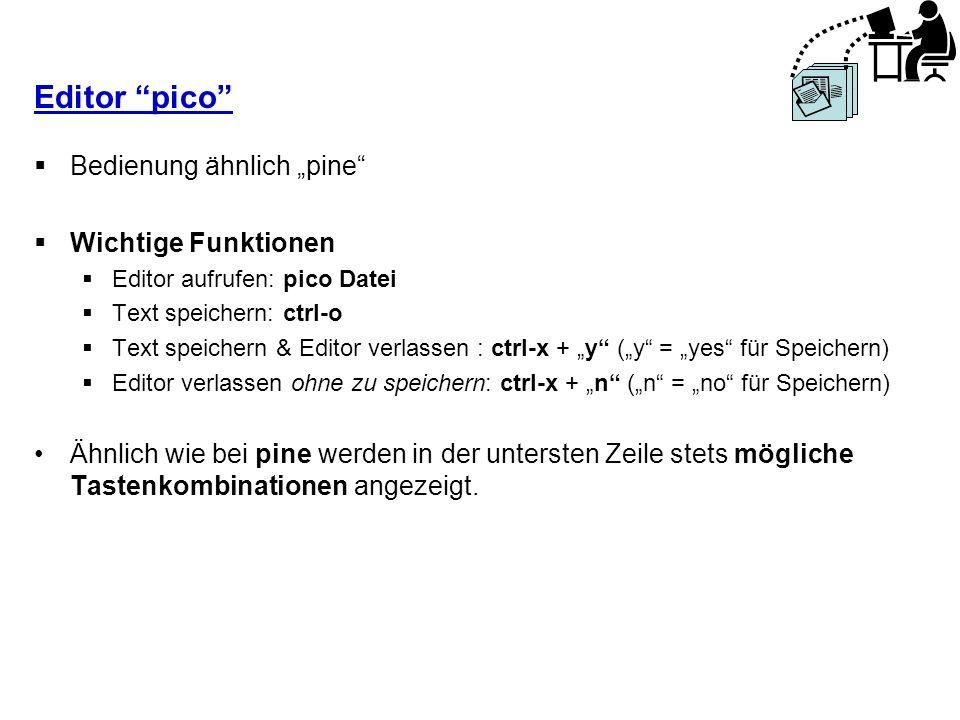 """Editor pico Bedienung ähnlich """"pine Wichtige Funktionen"""