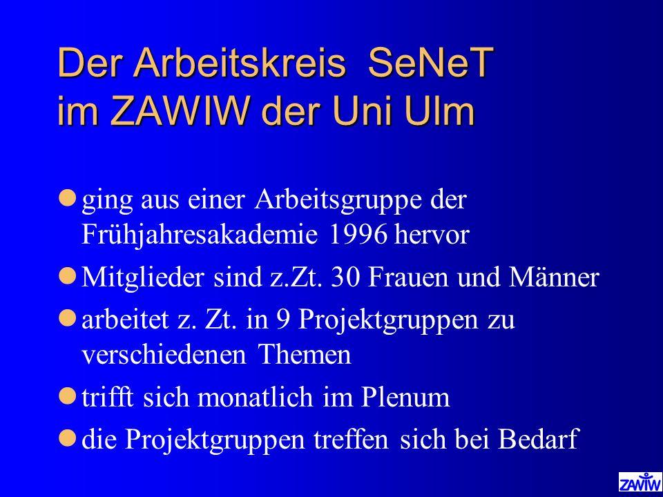 Der Arbeitskreis SeNeT im ZAWIW der Uni Ulm