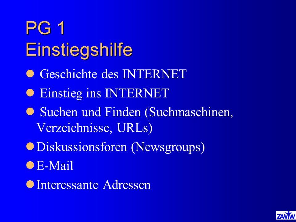 PG 1 Einstiegshilfe Geschichte des INTERNET Einstieg ins INTERNET