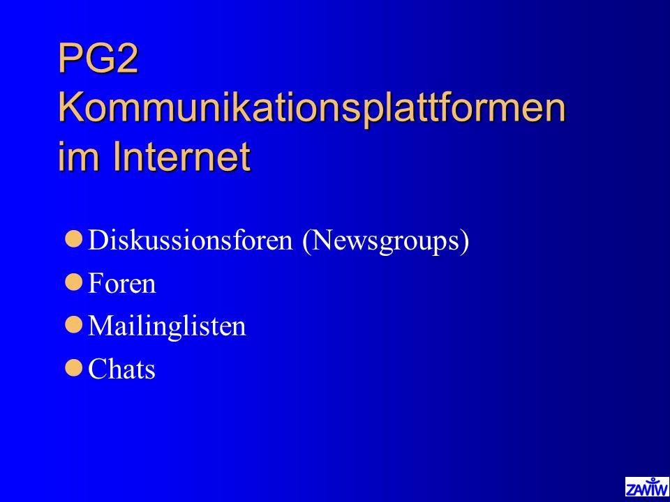 PG2 Kommunikationsplattformen im Internet