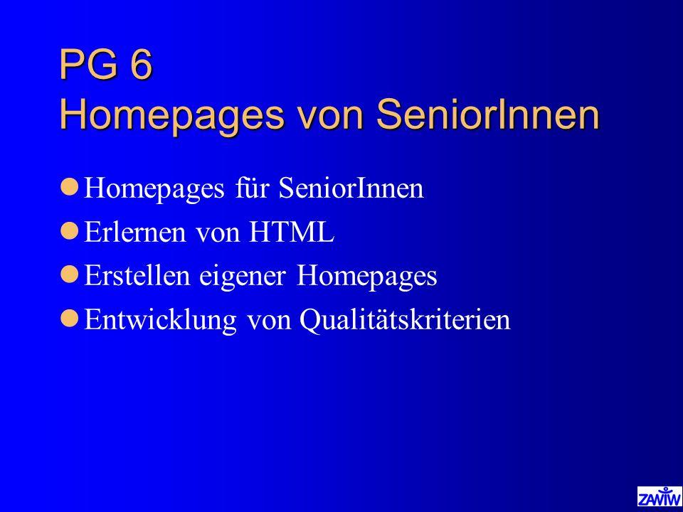 PG 6 Homepages von SeniorInnen