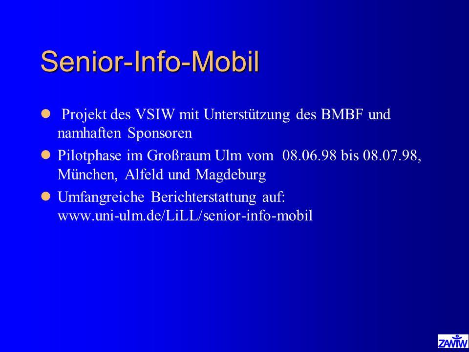 Senior-Info-Mobil Projekt des VSIW mit Unterstützung des BMBF und namhaften Sponsoren.