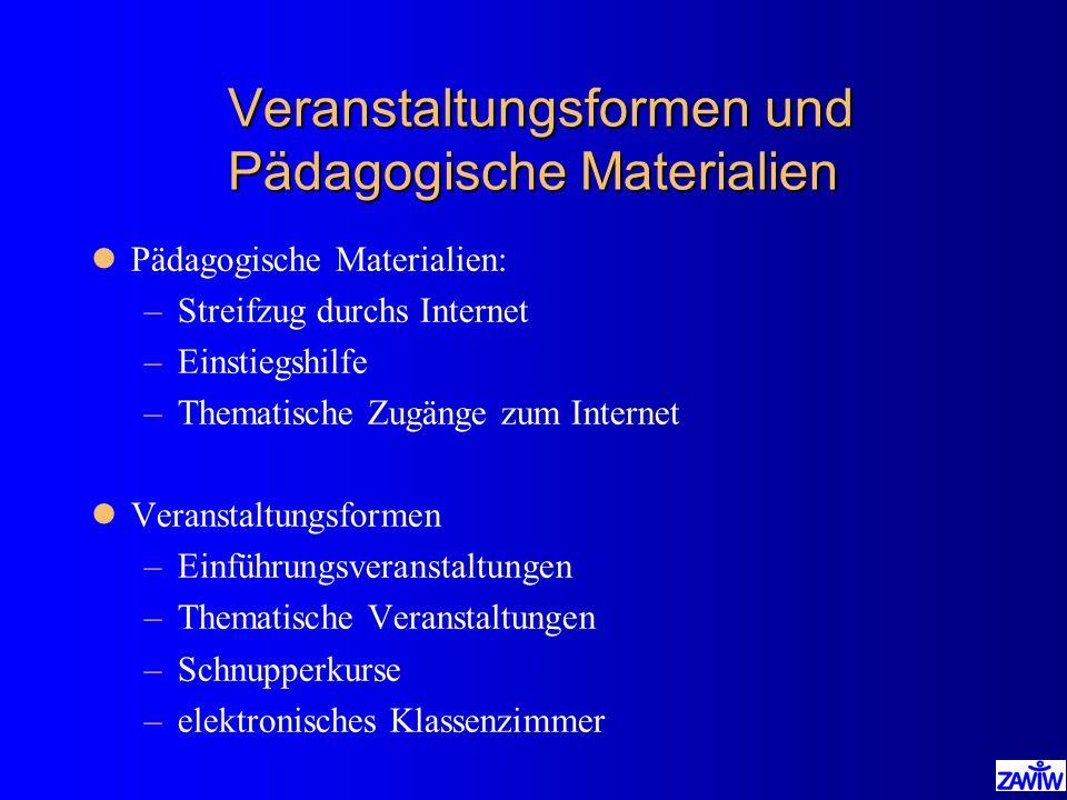 Veranstaltungsformen und Pädagogische Materialien