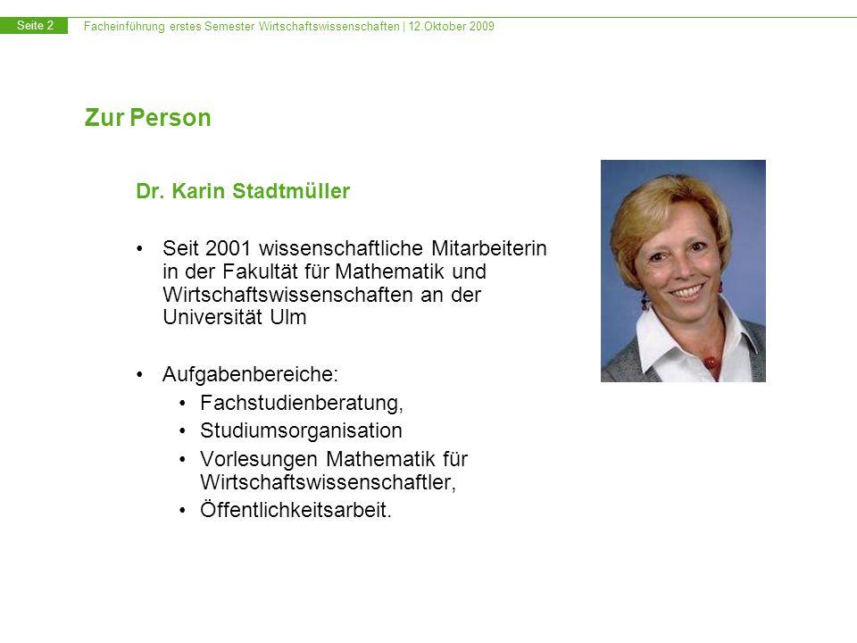 Zur Person Dr. Karin Stadtmüller