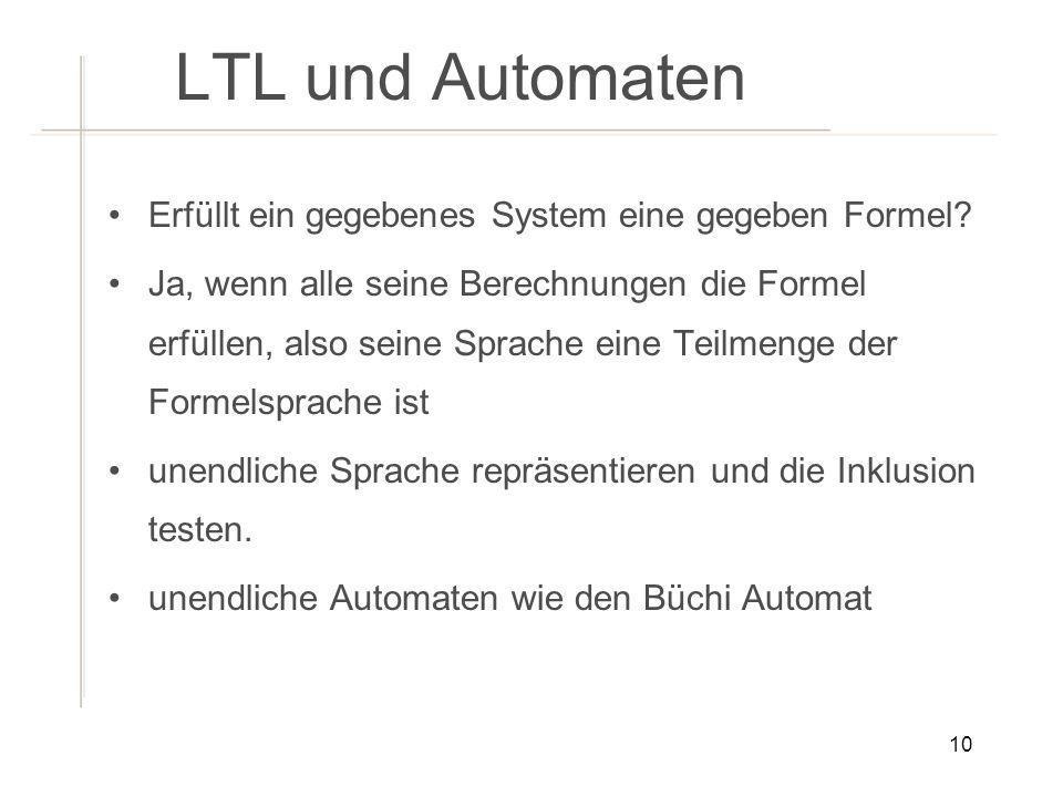 LTL und Automaten Erfüllt ein gegebenes System eine gegeben Formel