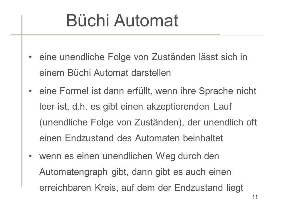 Büchi Automateine unendliche Folge von Zuständen lässt sich in einem Büchi Automat darstellen.