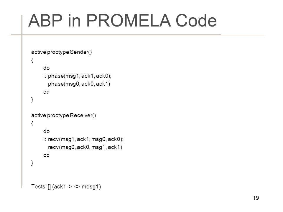 ABP in PROMELA Code active proctype Sender() { do