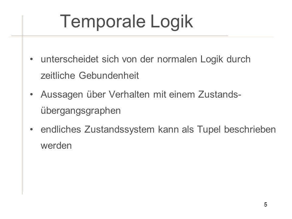 Temporale Logik unterscheidet sich von der normalen Logik durch zeitliche Gebundenheit. Aussagen über Verhalten mit einem Zustands-übergangsgraphen.